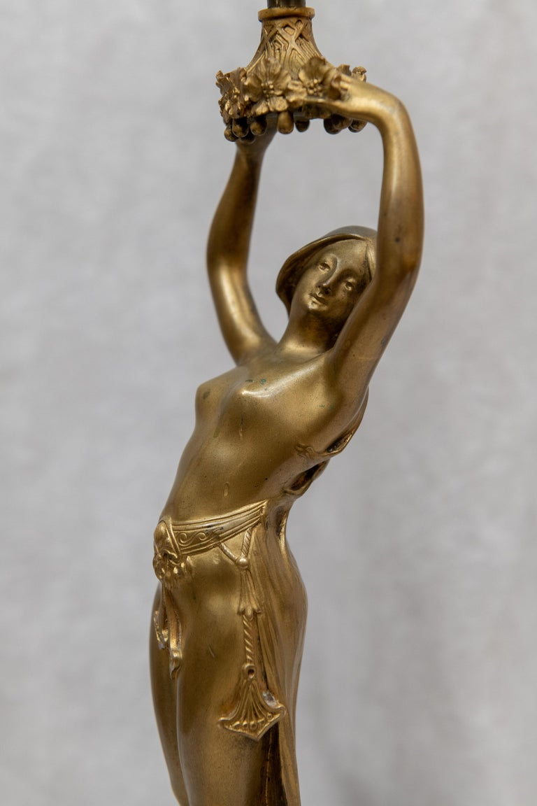 Art Nouveau Gilt Bronze Figural Lamp, French, Signed A. Fery, circa 1900 For Sale 4