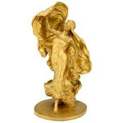 Art Nouveau Gilt Bronze Sculpture Dancer Loïe Fuller Leon Noël Delagrange, 1900