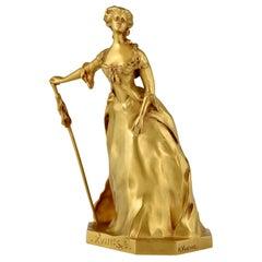 Art Nouveau Gilt Bronze Sculpture Elegant Woman Henri Frederic Varenne France