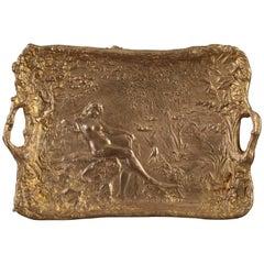 Art Nouveau Gilt Bronze Tray by Alexandre Vibert