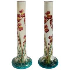 Art Nouveau Glass Decorative Vases, France 1920 with Floral Decorations