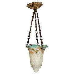 Art Nouveau Glass Verreries Schneider Plafonnière Hanging Light Brass Fitting