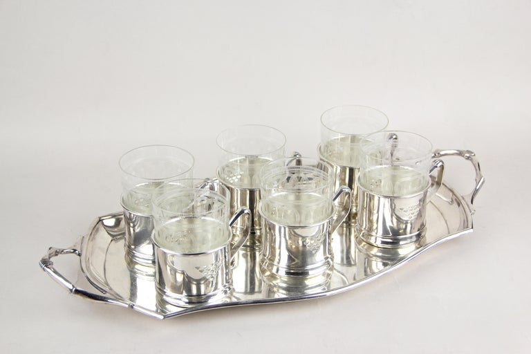 Art Nouveau Glasses on Silvered Tray by Argentor, Vienna, circa 1910 For Sale 5