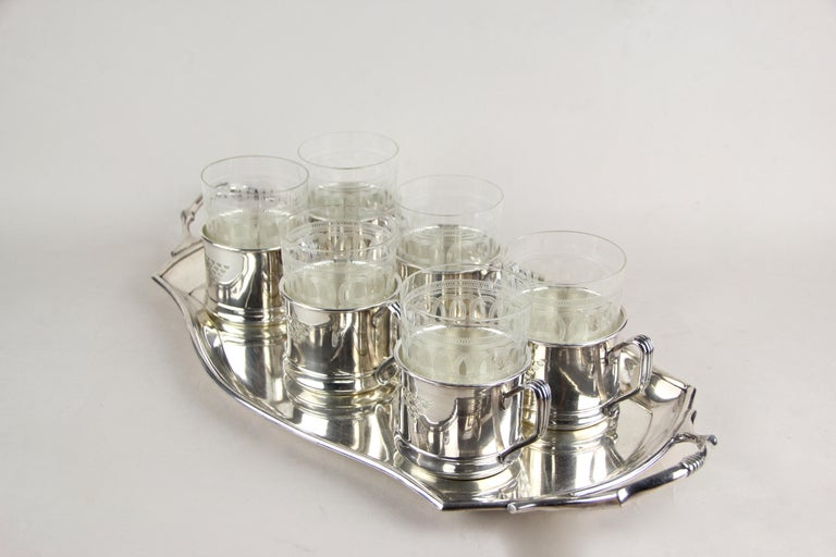 Art Nouveau Glasses on Silvered Tray by Argentor, Vienna, circa 1910 For Sale 11
