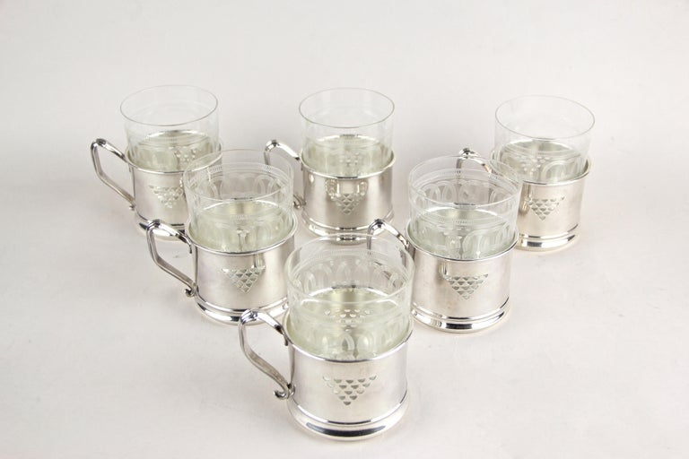 Austrian Art Nouveau Glasses on Silvered Tray by Argentor, Vienna, circa 1910 For Sale