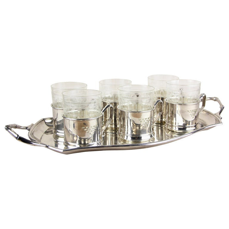 Art Nouveau Glasses on Silvered Tray by Argentor, Vienna, circa 1910 For Sale