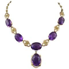 Art Nouveau Gold and Amethyst Necklace