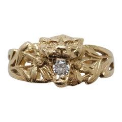 Art Nouveau Gold and Diamond Lion Ring