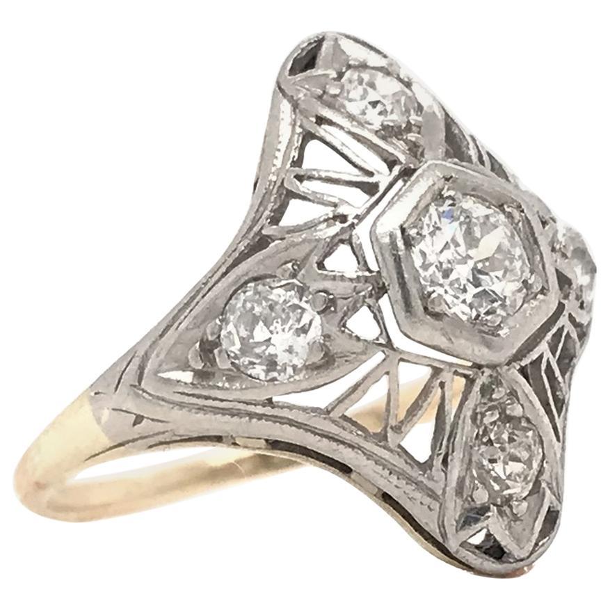 Art Nouveau Gold and Platinum Diamond Cocktail Ring