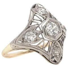 Art Nouveau Gold and Platinum Diamond Cocktail Ring