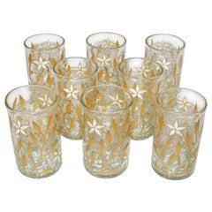 Art Nouveau Gold and White Enamel Craqueled Tea Glasses