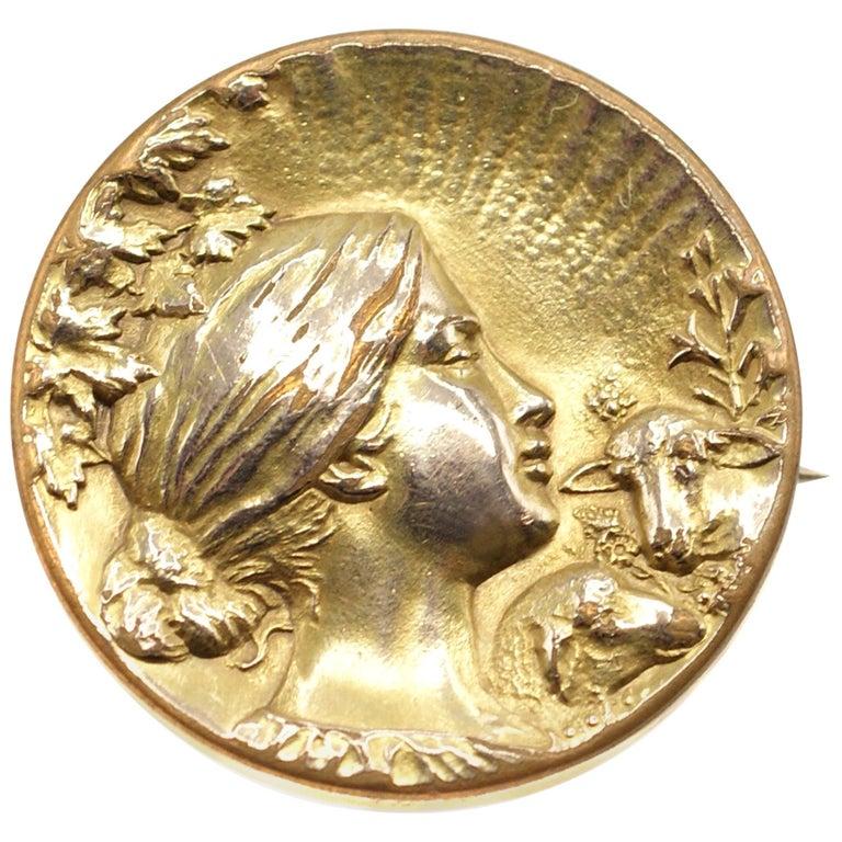 Art Nouveau Gold Brooch For Sale