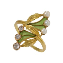 Art Nouveau Gold, Diamond, Pearl and Enamel Ring by Gaston Lafitte