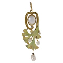 Art Nouveau Gold, Enamel and Diamond Ginkgo Leaf Pendant