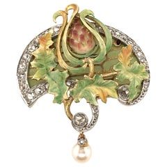Art Nouveau Gold, Enamel and Pearl Brooch