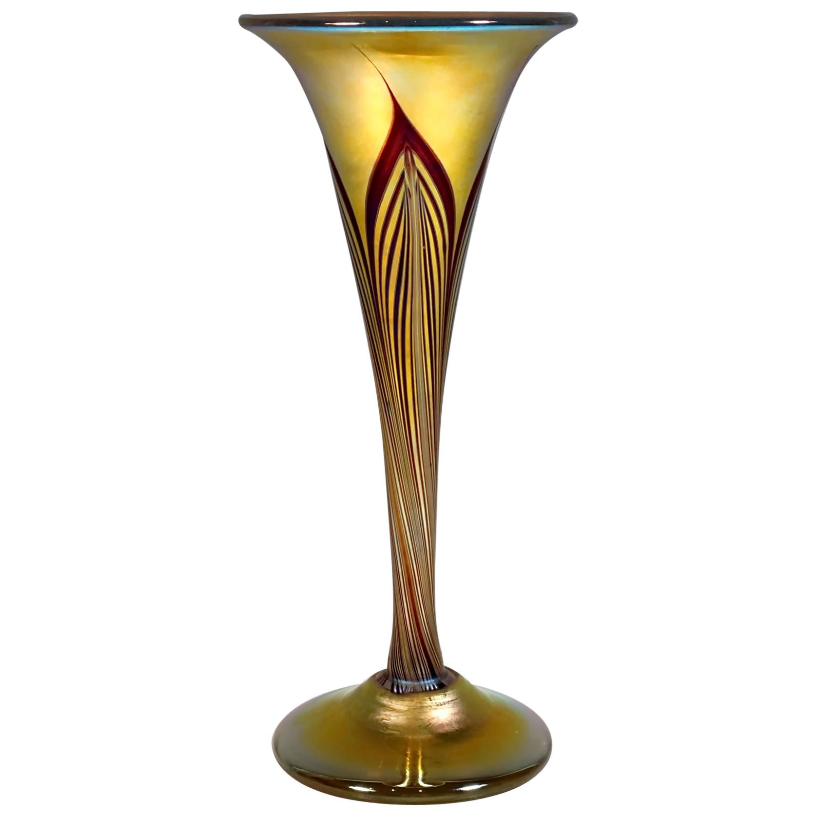 Art Nouveau Gold Favrile Glass Vase, L.C. Tiffany, New York, Around 1896