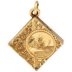 Art Nouveau Gold Landscape Locket Charm, circa 1900