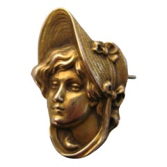 Art Nouveau Gold Portrait Brooch Pin Pendant 1900s
