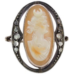 Art Nouveau Gold, Silver, Diamond and Cameo Ring