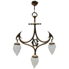 Art Nouveau Gothic Revival Brass & Glass 3-Light Pendant Lamp, 1910s