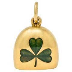 Art Nouveau Green Enamel 14 Karat Gold Irish Clover Bell Charm