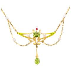 Art Nouveau Green Enamel Pearl Peridot Ruby Gold Festoon Necklace