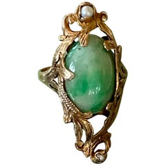 Art Nouveau Green Jadeite Cabochon 18 Karat Yellow Gold Ring