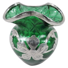 Art Nouveau Green Quilted Glass Silver Overlay Bud Vase by Historic Loetz