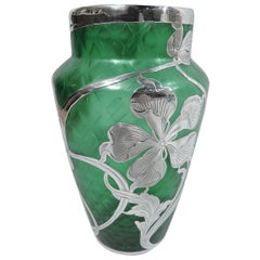 Art Nouveau Green Quilted Glass Silver Overlay Vase by Loetz