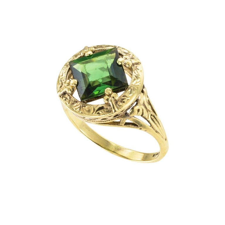 Square Cut Art Nouveau Green Tourmaline Yellow Gold Ring
