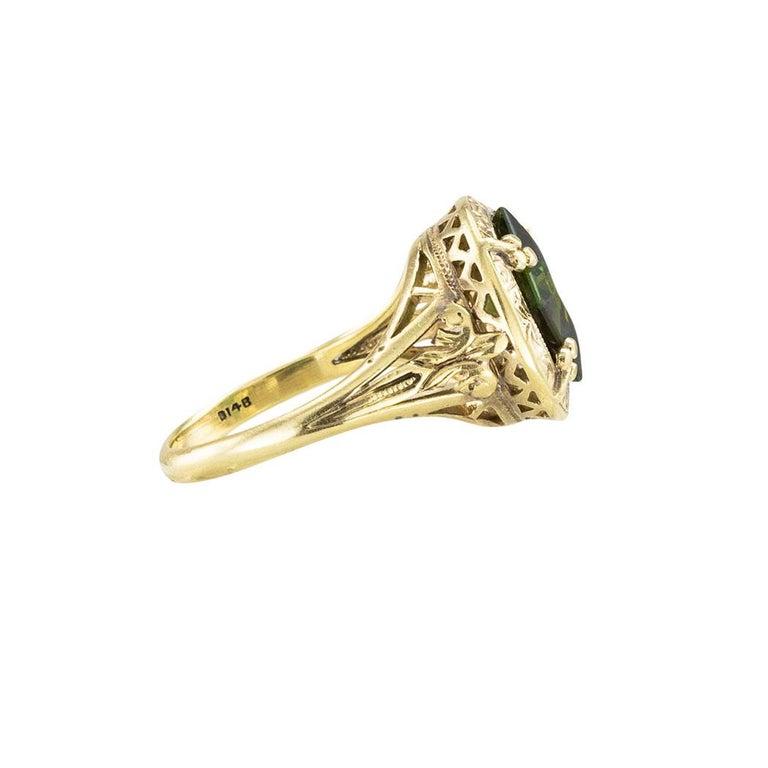 Women's Art Nouveau Green Tourmaline Yellow Gold Ring