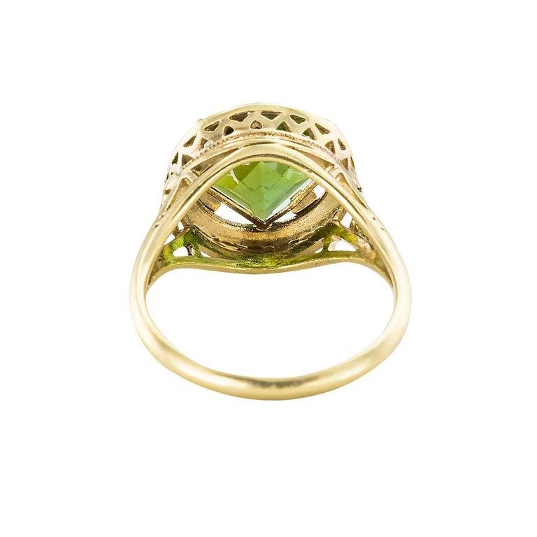Art Nouveau Green Tourmaline Yellow Gold Ring 1