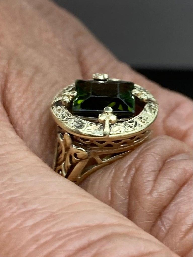 Art Nouveau Green Tourmaline Yellow Gold Ring 2