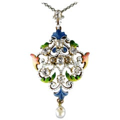 Art Nouveau Guilloché Enamel, Diamond, Pearl, Pendant, circa 1900