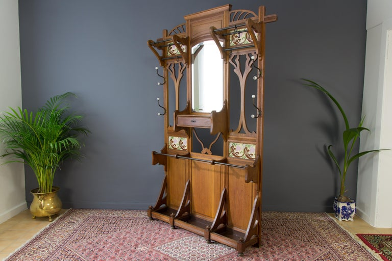 Art Nouveau Hall Stand Or Hall Tree In Oak At 1stdibs