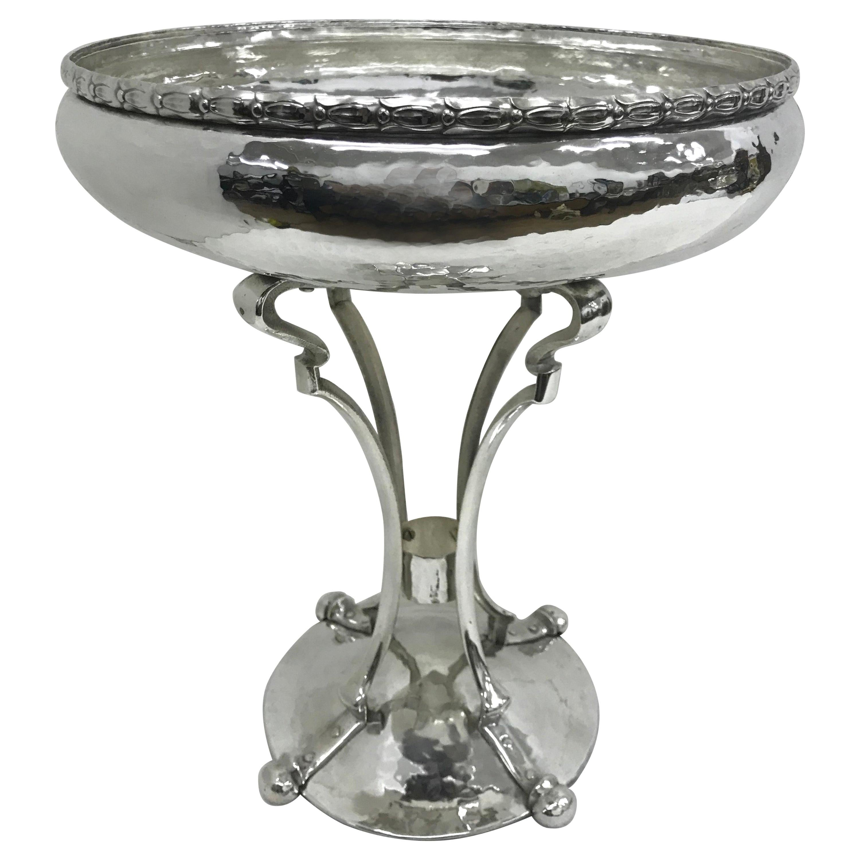 Art Nouveau Hammered Silver Plated English Centerpiece, circa 1900