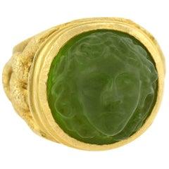Art Nouveau Hand Carved Tourmaline Medusa Cameo Ring