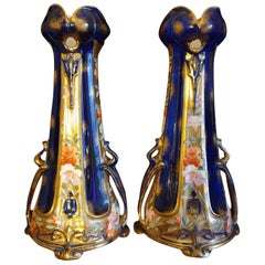 English Art Nouveau 19th Century Hand Painted Floral Pierced Gilded Vases