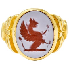Art Nouveau Hardstone Intaglio 18 Karat Gold Griffin Signet Ring