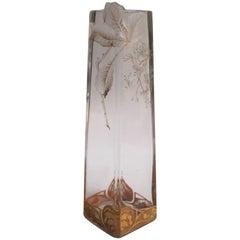 Bohemian Art Nouveau Harrach Clear Intaglio Cut-Out Glass Vase c1900