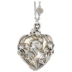 Art Nouveau Heart Iris Beauty Silver Locket Pendant Necklace France