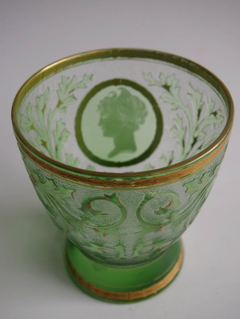 Late 19th Century Art Nouveau Helmet Cameo Vase by Riedel For Sale