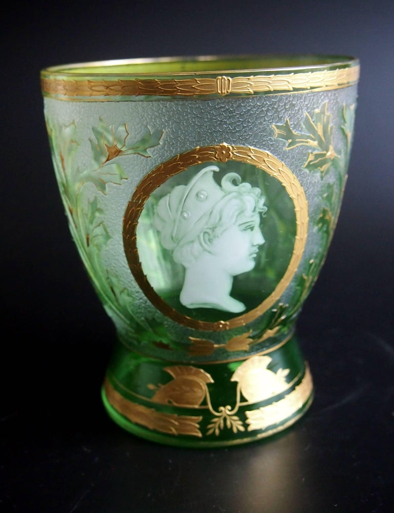 Art Nouveau Helmet Cameo Vase by Riedel For Sale 2
