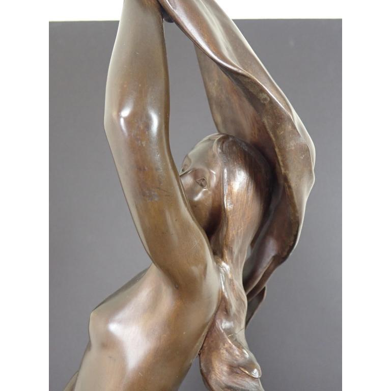 Art Nouveau Henri Godet Sculpture of Draped Nude In Good Condition For Sale In Norwood, NJ