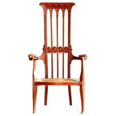 Art Nouveau High Backrest Original Condition J.S.Henry Chair, England, 1895