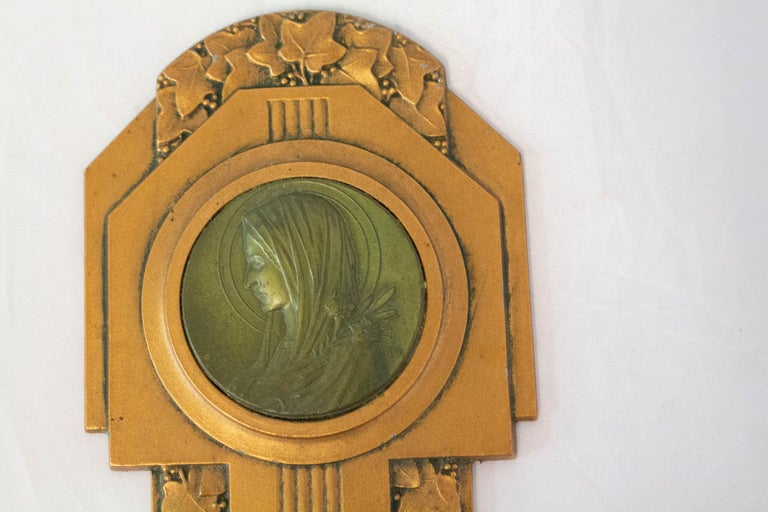Art Nouveau Holy Water Font Virgin Mary Lily French Bronze In Good Condition For Sale In Labrit, Landes