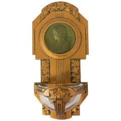 Art Nouveau Holy Water Font Virgin Mary Lily French Bronze