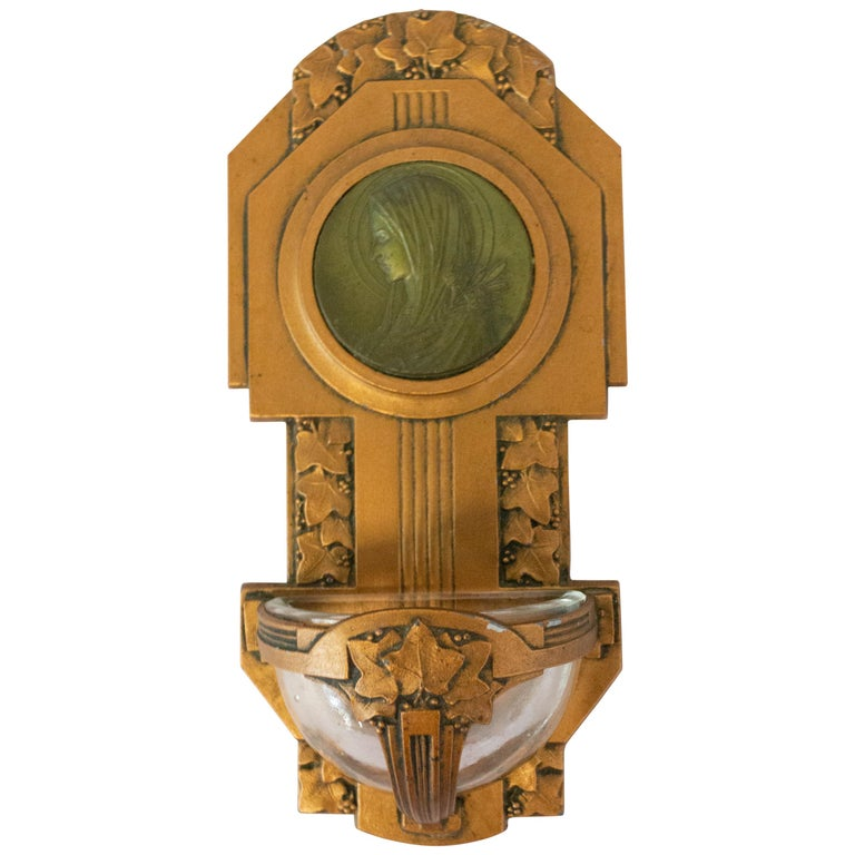 Art Nouveau Holy Water Font Virgin Mary Lily French Bronze For Sale