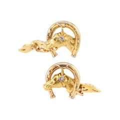 Art Nouveau Horsehead Horseshoe Diamond Gold Cufflinks