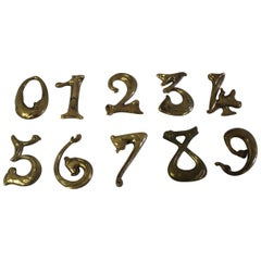 Art Nouveau House Numbers Bronze Made after Hector Guimard Designs